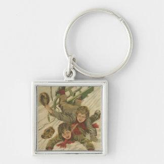 Vintage Christmas Sledding Silver-Colored Square Key Ring
