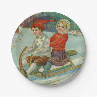 Vintage Christmas Sledding with Children 7 Inch Paper Plate