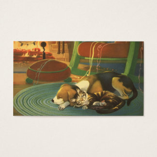 Vintage Christmas, Sleeping Animals by Fireplace