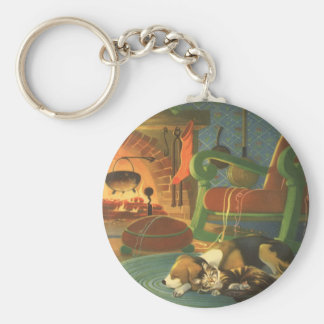 Vintage Christmas, Sleeping Animals by Fireplace Basic Round Button Key Ring