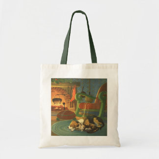 Vintage Christmas, Sleeping Animals by Fireplace Budget Tote Bag