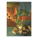 Vintage Christmas, Sleeping Animals by Fireplace Greeting Cards