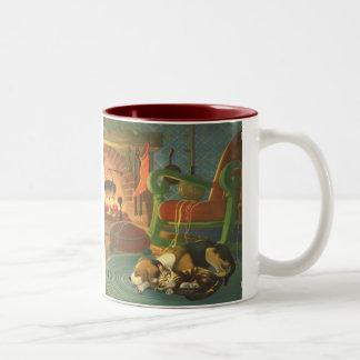 Vintage Christmas, Sleeping Animals by Fireplace Two-Tone Coffee Mug