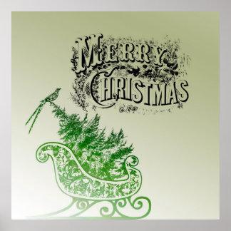 Vintage Christmas Sleigh Poster