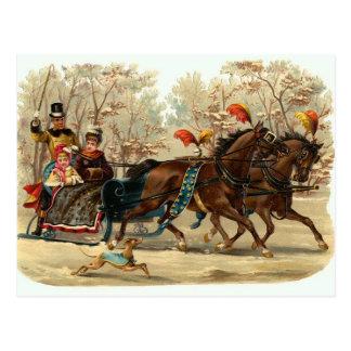 Vintage Christmas Sleigh Ride Postcard