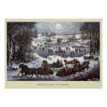 Vintage Christmas Sleighs, Central Park in Winter Poster