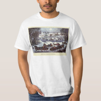 Vintage Christmas Sleighs, Central Park in Winter T-Shirt