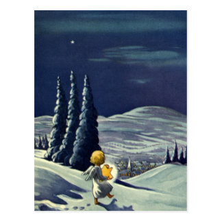 Vintage Christmas Snow Angel Walking with a Star Postcard
