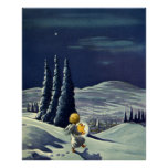 Vintage Christmas Snow Angel Walking with a Star Poster