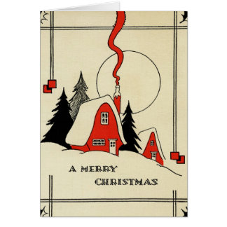 Vintage Christmas Snow Cabin Card