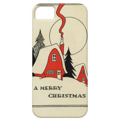 Vintage Christmas Snow Cabin iPhone 5 Cases