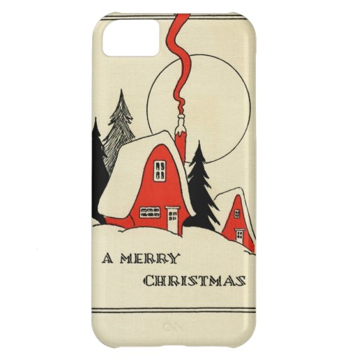 Vintage Christmas Snow Cabin iPhone 5C Covers