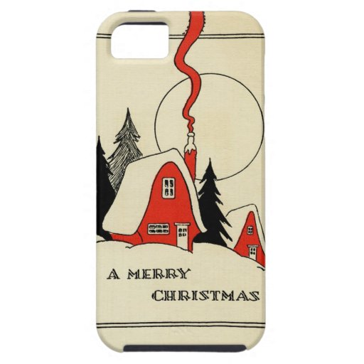 Vintage Christmas Snow Cabin iPhone 5 Cover