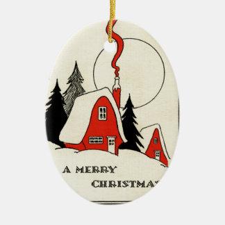 Vintage Christmas Snow Cabin Christmas Ornament
