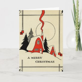 Vintage Christmas Snow Cabin Holiday Card