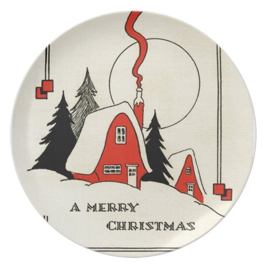 Vintage Christmas Snow Cabin Plate