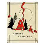 Vintage Christmas Snow Cabin Postcard