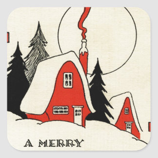 Vintage Christmas Snow Cabin Square Stickers