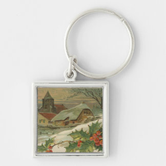 Vintage Christmas Snow Covered Town Silver-Colored Square Key Ring