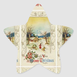 Vintage Christmas Snow Scene Star Sticker
