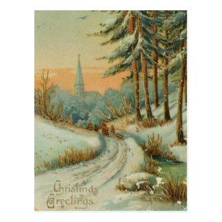 Vintage Christmas Snow Trail Postcard