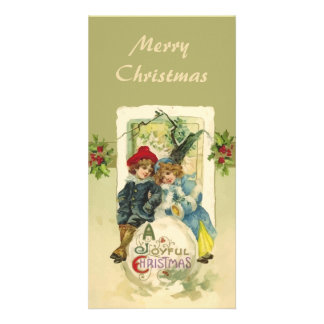 Vintage Christmas Snowball Bookmark Personalized Photo Card