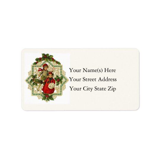 Vintage Christmas Snowflake Ornament Label
