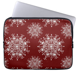 Vintage Christmas Snowflakes Red Blizzard Pattern Laptop Sleeve