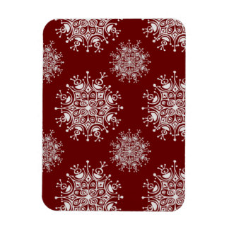 Vintage Christmas Snowflakes Red Blizzard Pattern Rectangular Photo Magnet