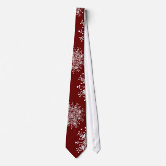 Vintage Christmas Snowflakes Red Blizzard Pattern Tie