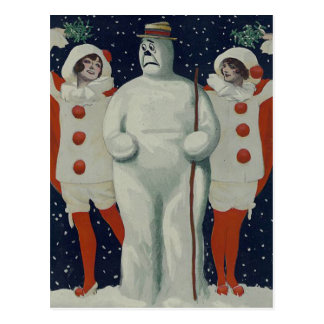 Vintage Christmas Snowman and Ladies Postcard