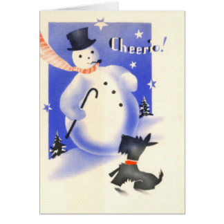 Vintage Christmas Snowman And Scottie Dog Greeting Card