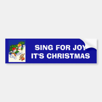 Vintage Christmas Snowman band Bumper Stickers