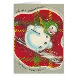 Vintage Christmas Snowman Card