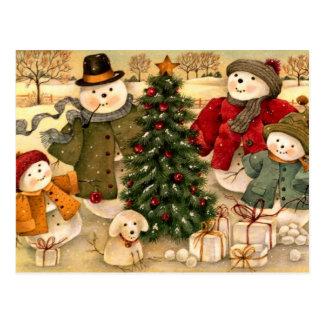 Vintage Christmas, snowman family Postcard