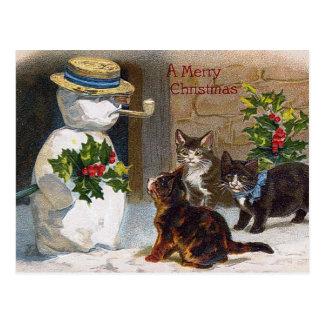 Vintage Christmas Snowman & Kittens Card Postcard