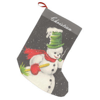 Vintage Christmas Snowman Personalized Small Christmas Stocking