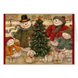 Vintage Christmas Snowmen Greeting Card