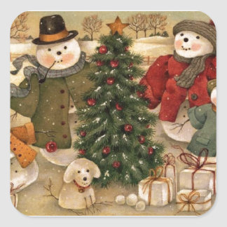 Vintage Christmas Snowmen Square Sticker