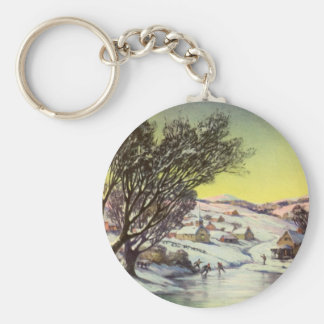 Vintage Christmas, Snowscape with Frozen Lake Basic Round Button Key Ring