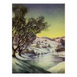 Vintage Christmas, Snowscape with Frozen Lake Poster