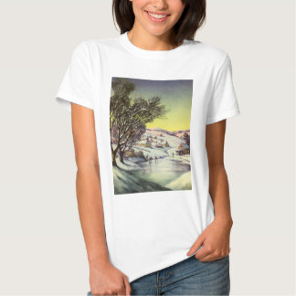 Vintage Christmas, Snowscape with Frozen Lake Shirt