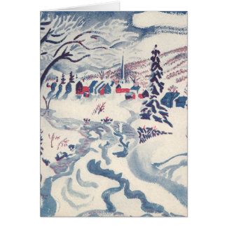 Vintage Christmas, Snowscape with Winter Village Card