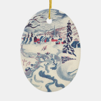 Vintage Christmas, Snowscape with Winter Village Christmas Ornament