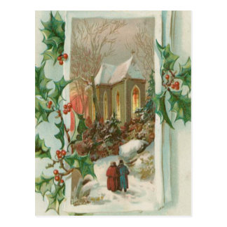 Vintage Christmas Snowy Church Postcard