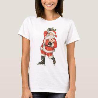 Vintage Christmas Sports, Santa Claus Ice Skating T-Shirt