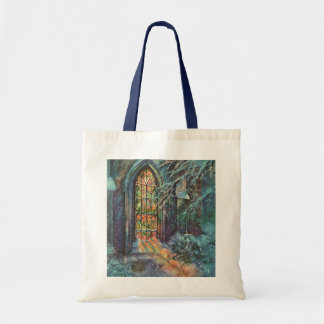 Vintage Christmas, Stained Glass Window in Church Budget Tote Bag