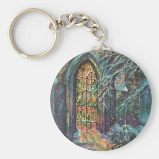 Vintage Christmas, Stained Glass Window in Church Key Chain