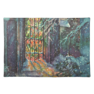 Vintage Christmas, Stained Glass Window in Church Placemat