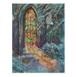 Vintage Christmas, Stained Glass Window in Church Postcards
